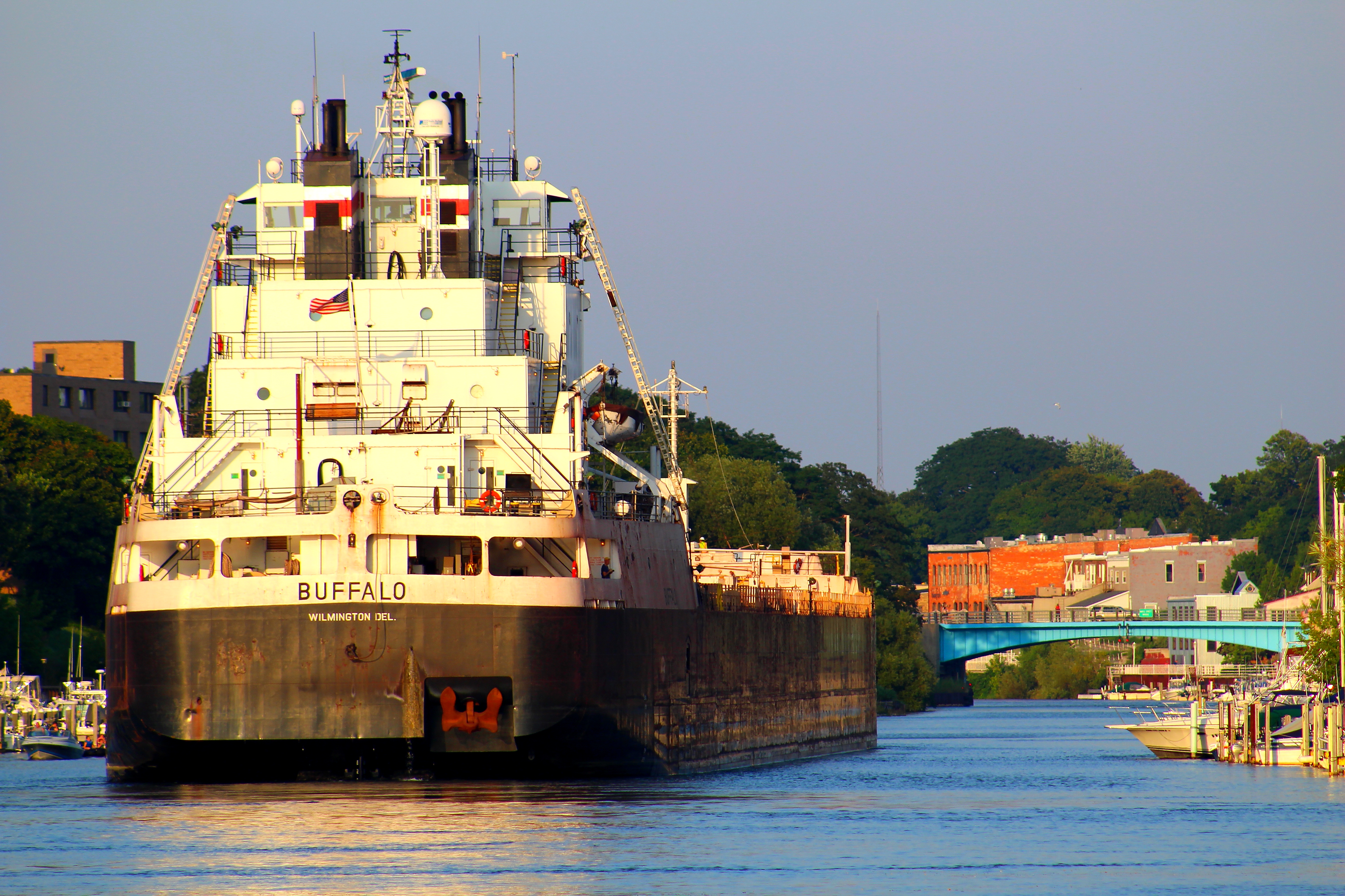 Freighter Buffalo in the Manistee River Channel with the Maple Street Bridge in the background