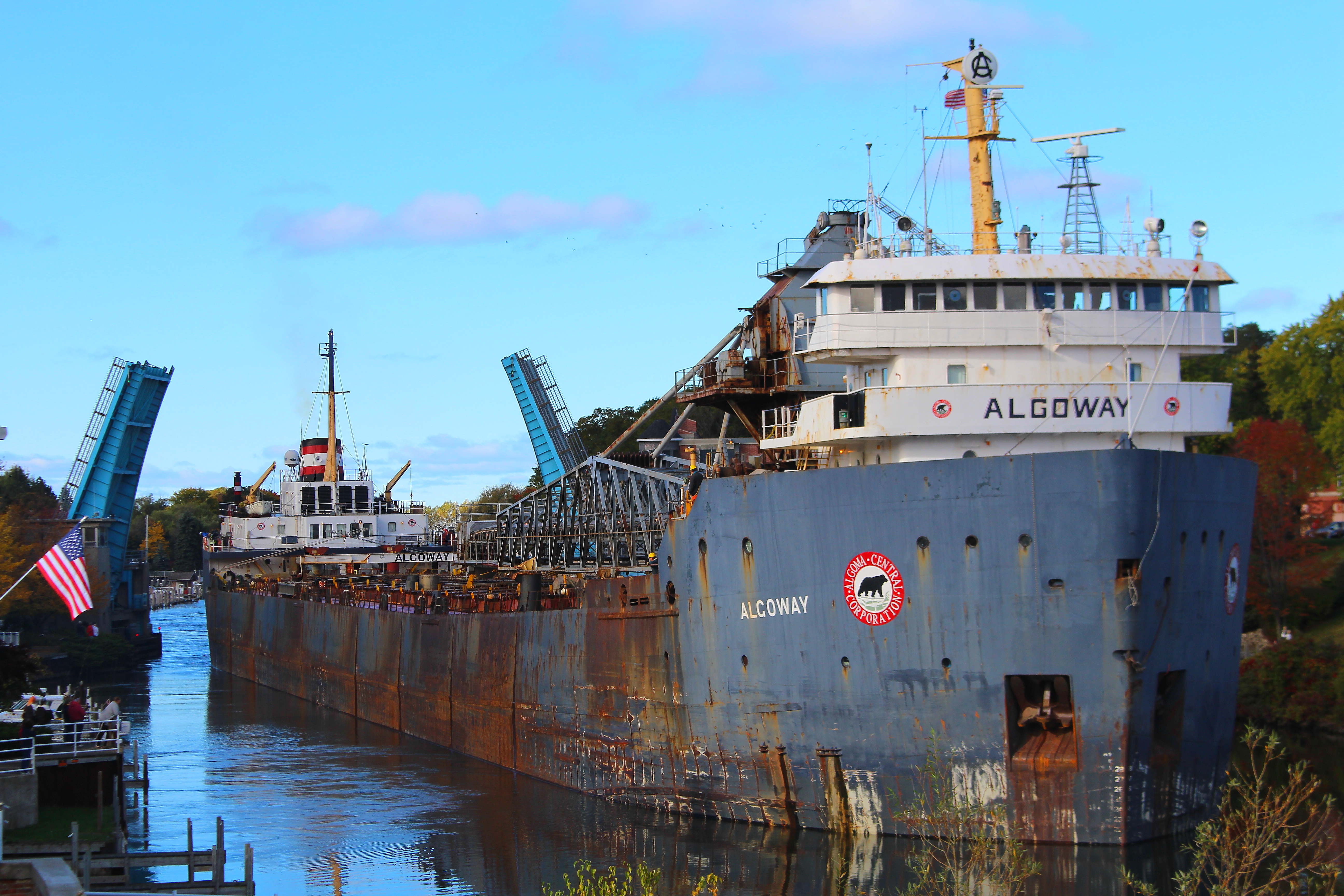 Freighter Algoway seeing going through Maple Street Bridge