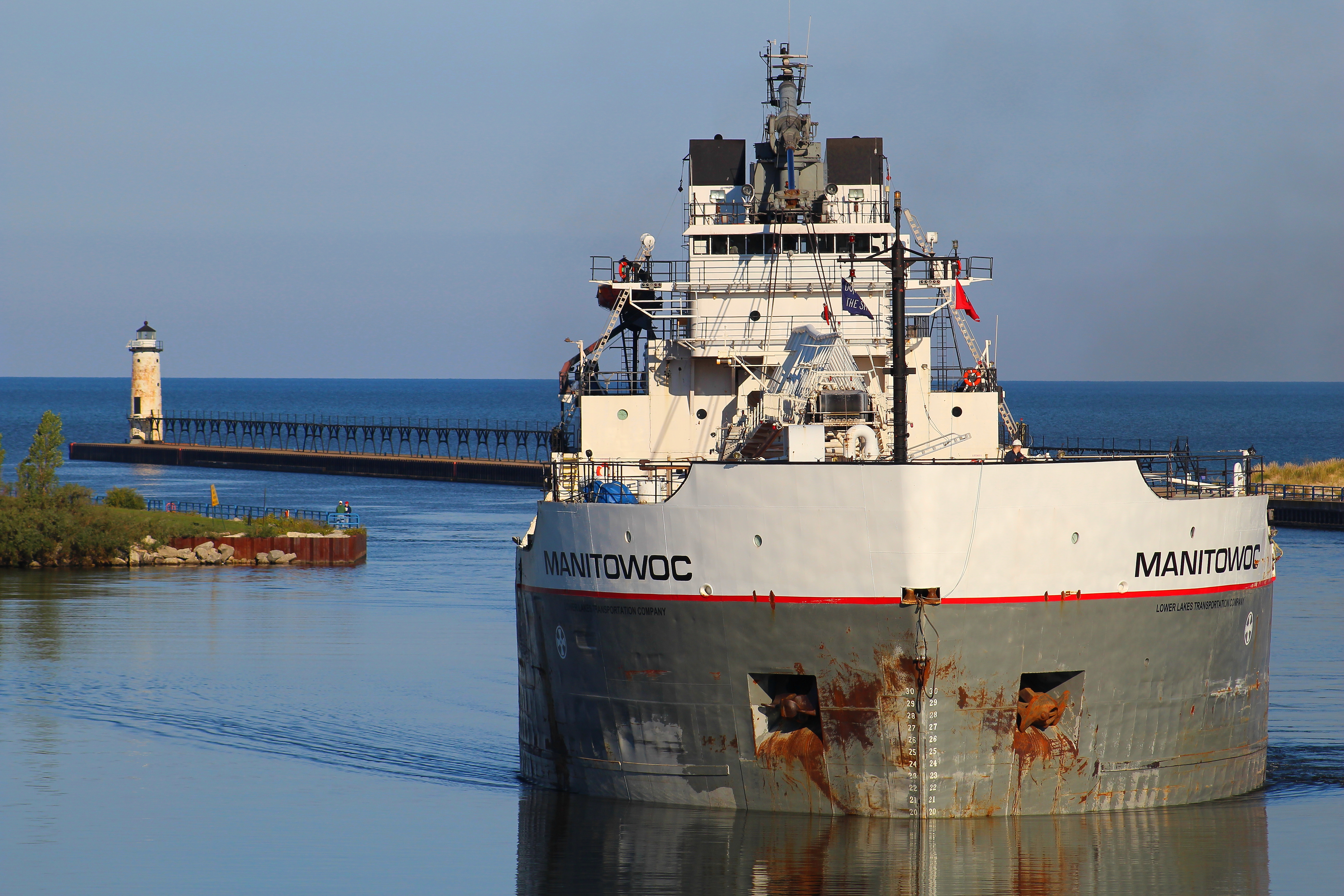 Freighter Manitowoc entering the Manistee River Channel