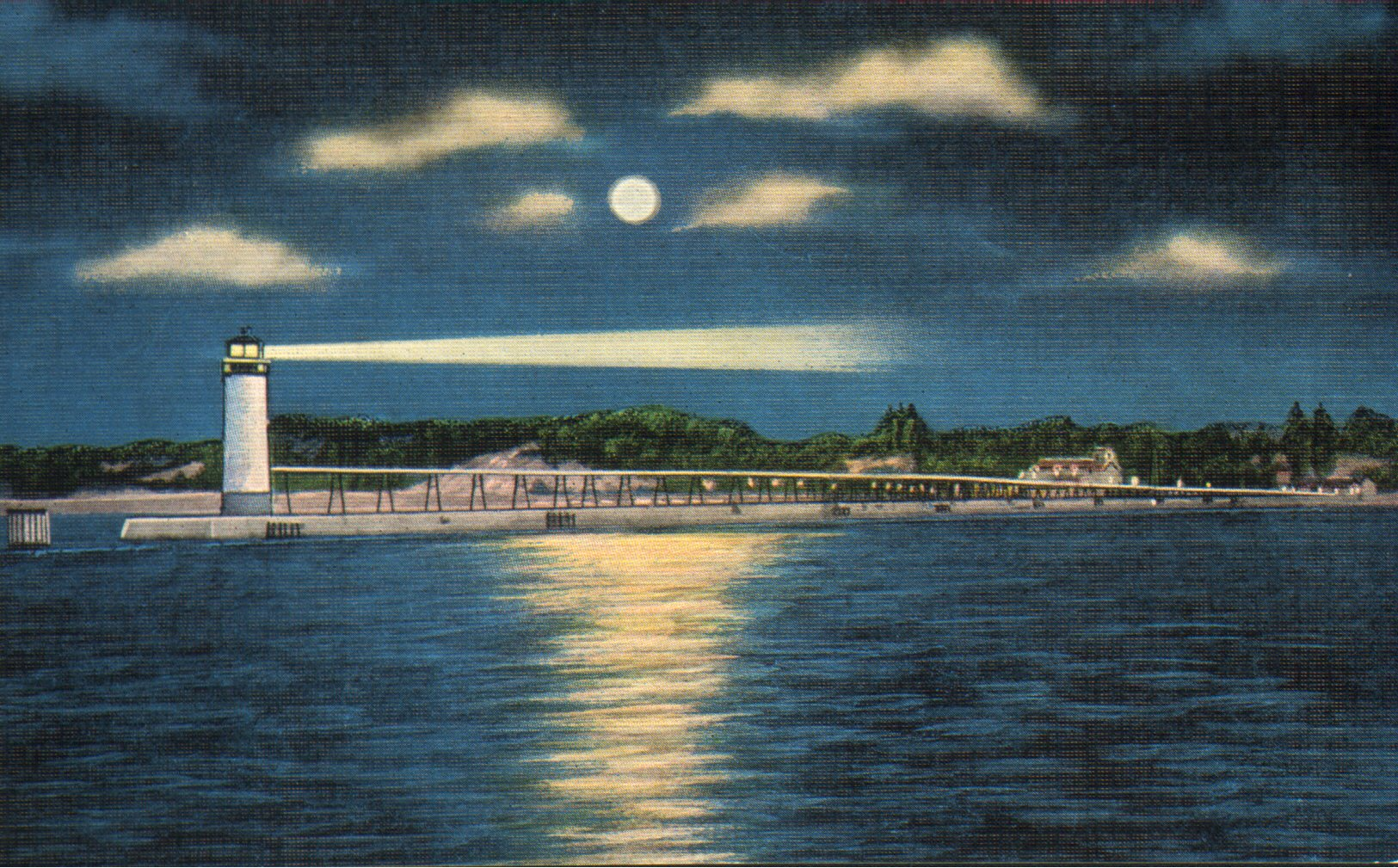 Harbor mouth postcard that depicts a night scene with a full moon shining over the Fifth Avenue Lighthouse and catwalk