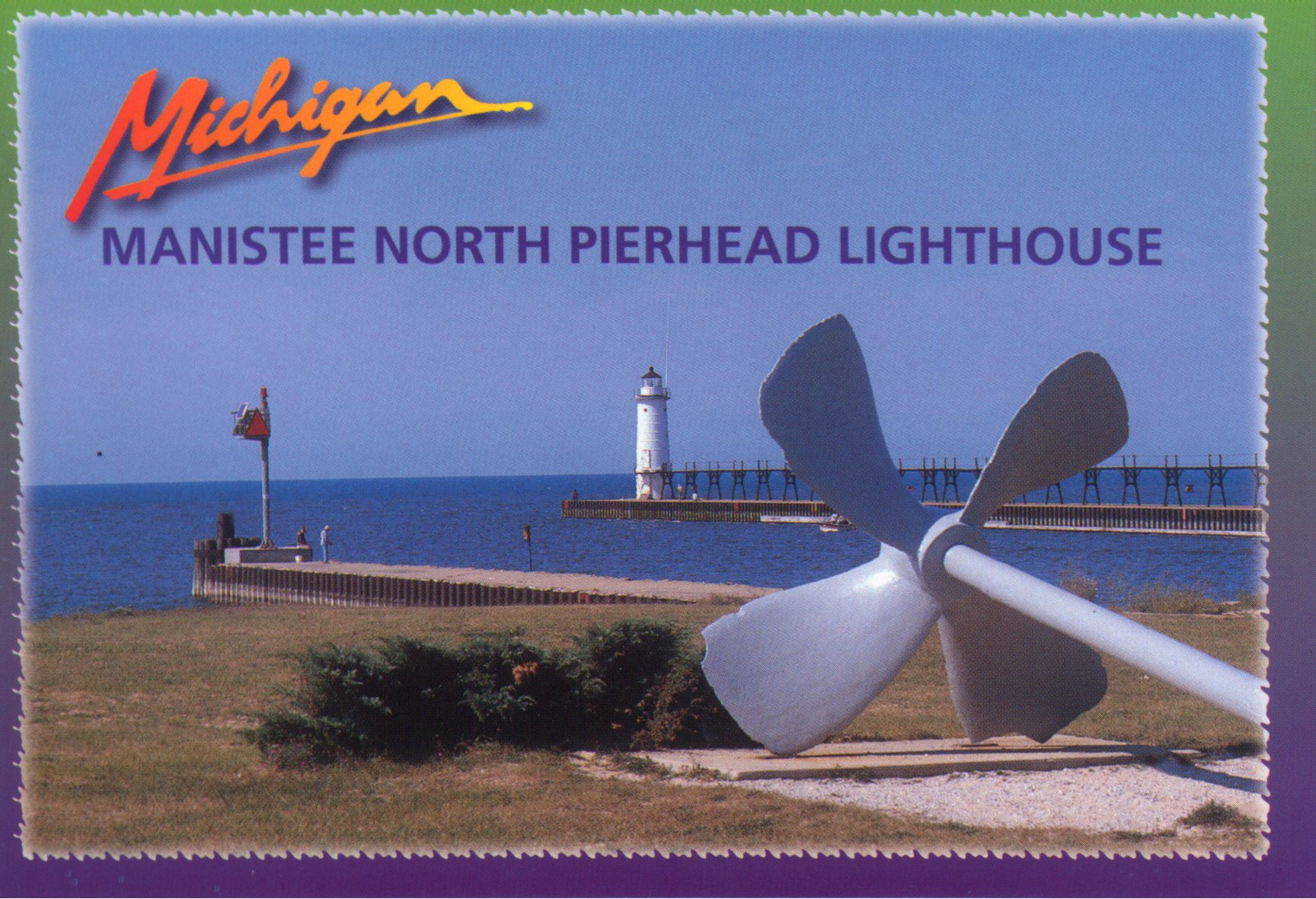 North Pierhead Lighthouse Postcard that shows the propeller and stub pier at First Street Beach in the foreground with the Harbor and the Fifth Avenue Lighthouse and Catwalk in the background