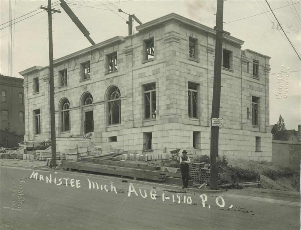 Limestone is in place up to the second story of the post office as seen in August 1910 photo taken from the Northeast Corner overlooking the site