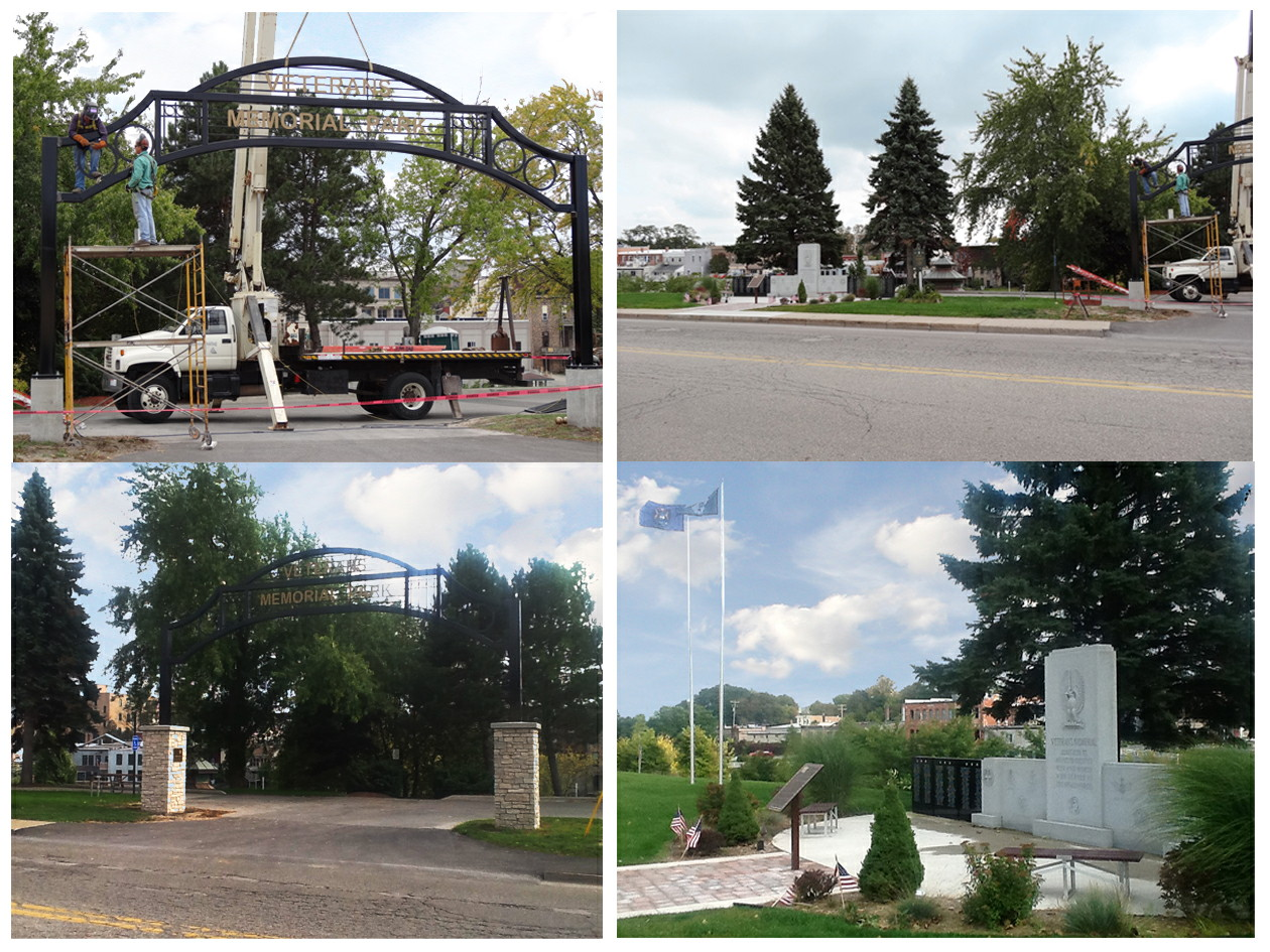 A photo collage of four pictures of the Veterans Memorial Park where the arch is being installed to the entrance of the parking lots and new landscaping is in place around the veterans memorial honoring those who have served in the armed forces