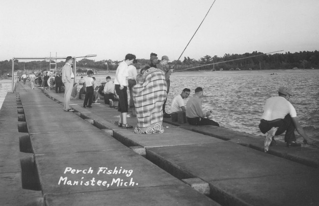 Historical postcard showing perch Fishing from the Pier at First Street beach