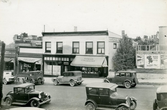 Photo from circa 1930 of Maple Street showing cars parked along the streets