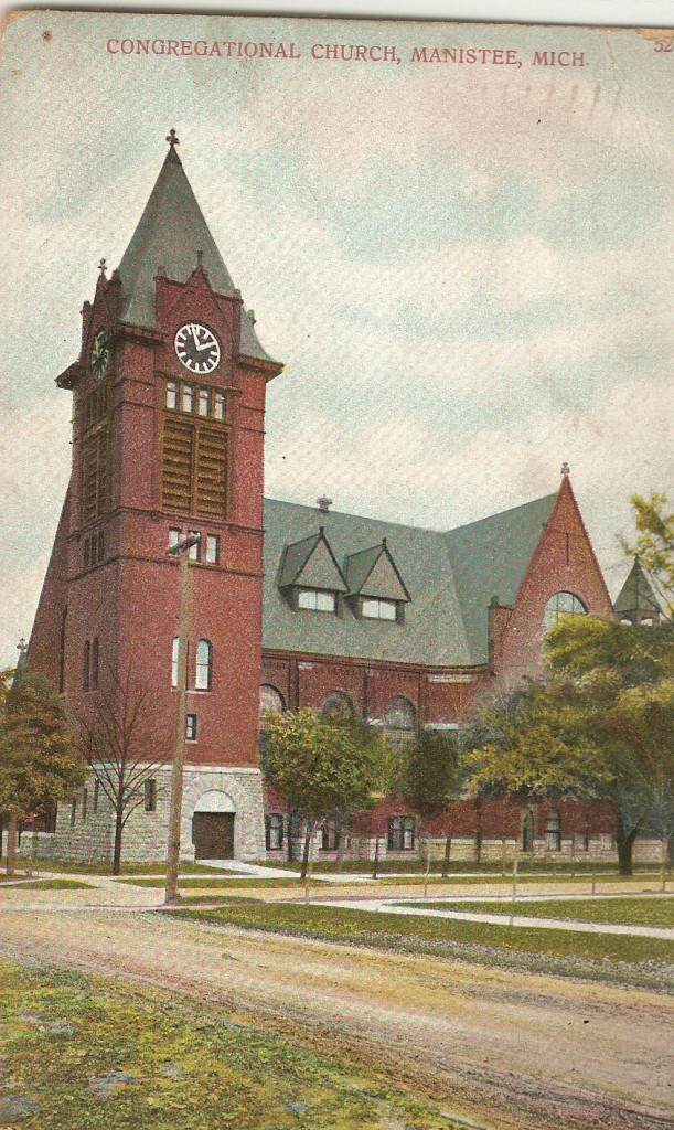 Colored Historical Photo of the Congregational Church showing a three story brick building with a large clock tower