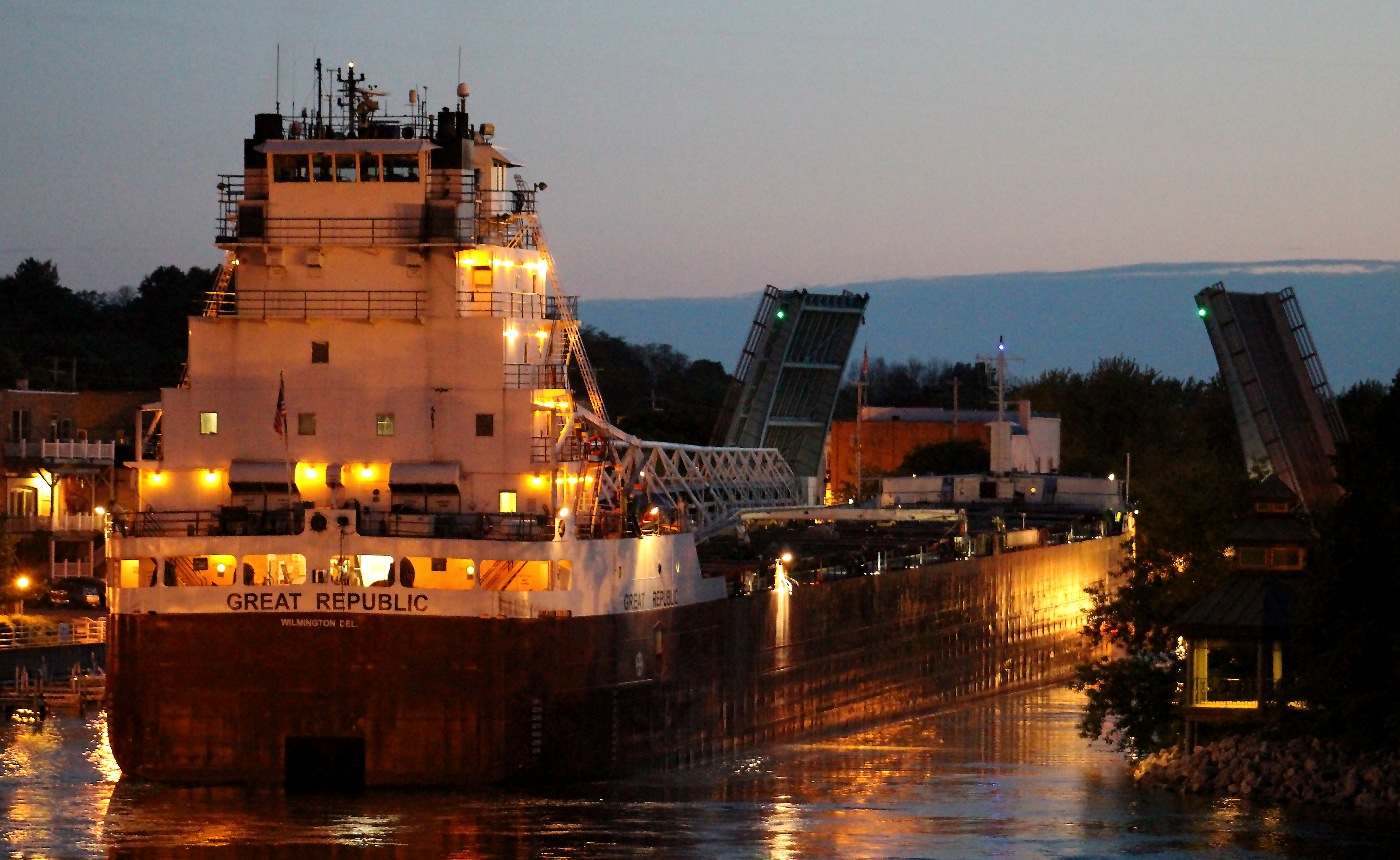 Freighter Great Republic is seen at twilight in the Manistee River Channel