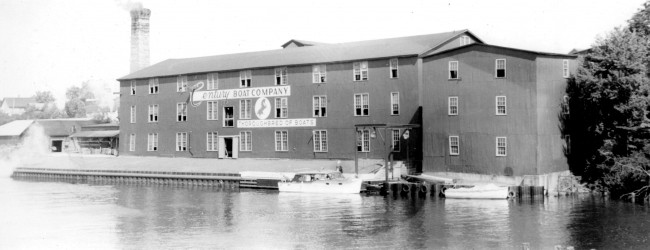 Historical Photo of the Century Boat Building on Manistee River Channel where they manufactured wooden boats